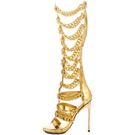 gold gladiator high heels gold gladiator heels knee high gold sandals heels