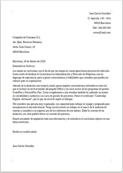 ejemplo de carta de presentacin para una empresa ejemplo de carta de presentaci 243 n para trabajar de becario