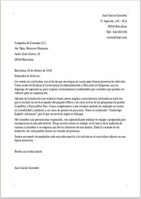 Modelo De Carta De Presentacion Para Enviar Un Curriculum Ejemplo De Carta De Presentaci 243 N Para Trabajar De Becario