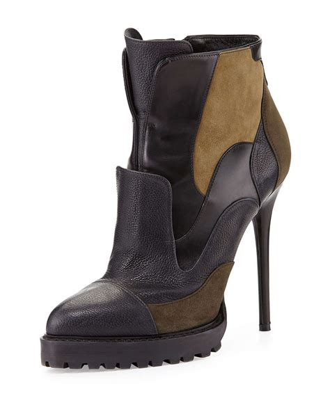 mcqueen boots mcqueen mixed media ankle boot in black lyst