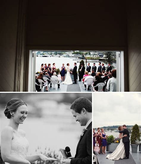 wedding on a boat seattle seattle wedding on a ferry in the rain green wedding