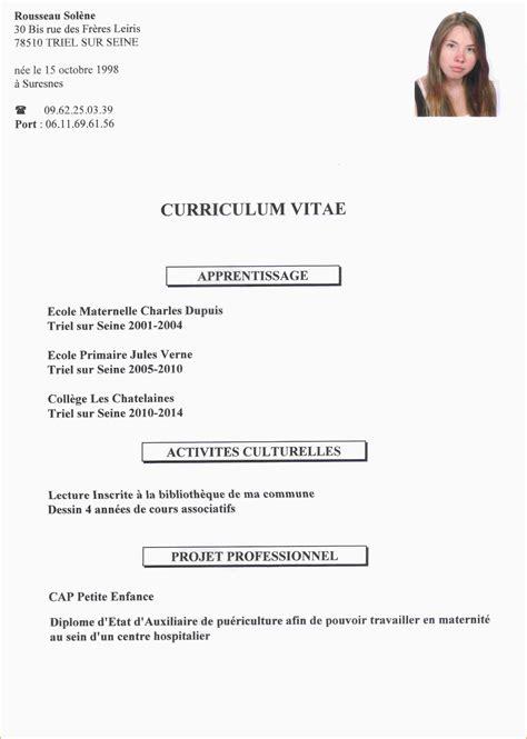 Faire Cv by Faire Un Cv Pour Un Stage De 3eme