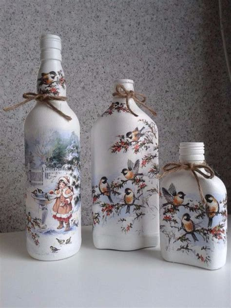 Decoupage Glass Jars - how to decorate glass bottles with decoupage diy recycle