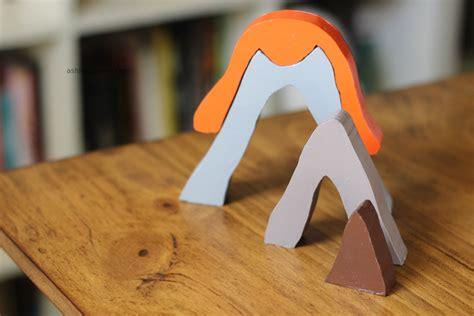 diy volcano wooden stacker handmade with