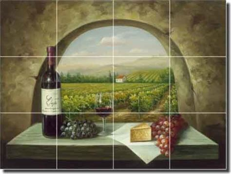 ceramic tile mural backsplash ching tuscan vineyard
