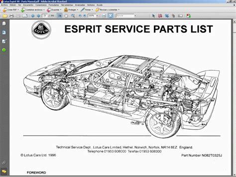 lotus esprit v8 parts manual