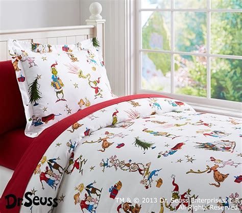 pottery barn christmas bedding dr seuss s the grinch flannel duvet cover pottery barn