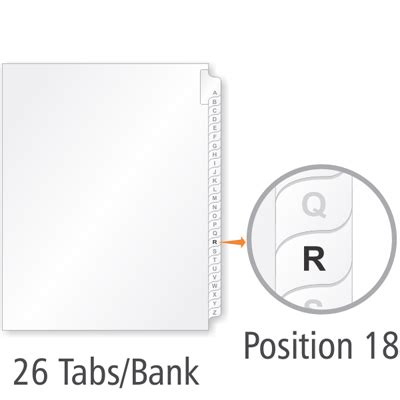Alphabetical Index Tab R Tab Divider Template Signs Sku 5 Bank Tab Template