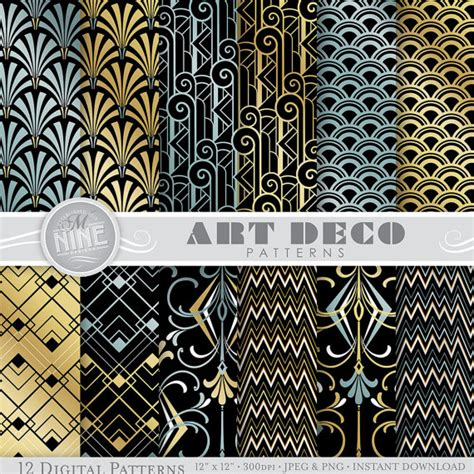 printable art deco paper art deco patterns 12 x 12 art deco digital paper