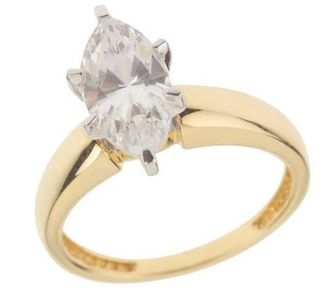 diamonique 2 ct marquise solitaire ring 14k gold page 1