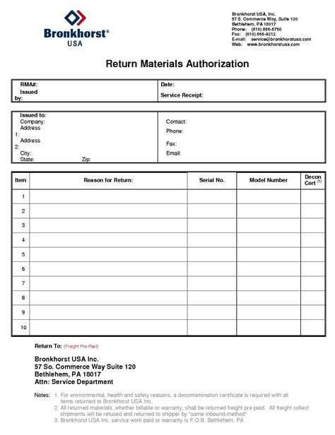 Bronkhorst Return Materials Authorization Form Br Usa Bronkhorst 174 Return Material Authorization Form Template