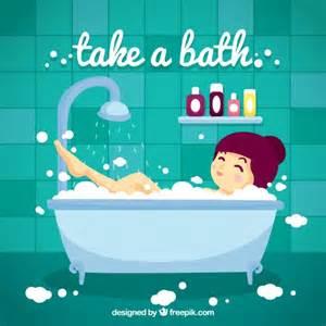 badewanne comic taking a bath vector