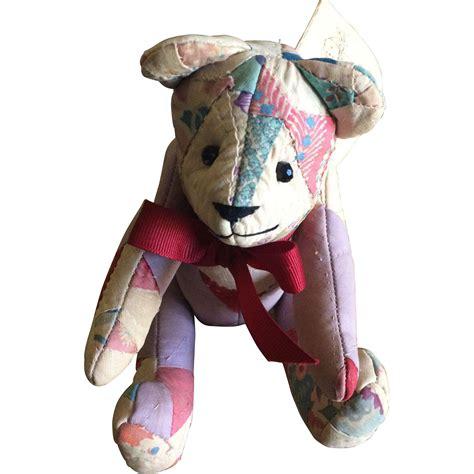 Patchwork Teddy - vintage handmade patchwork quilt teddy from basinger