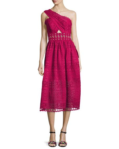 Cutout Shoulder Midi Dress self portrait one shoulder cutout midi dress raspberry