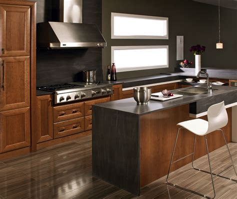 Contemporary Kitchen With Cherry Cabinets Kitchen Craft Modern Cherry Kitchen Cabinets