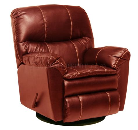 swivel recliner red leather touch cosmo modern swivel glider recliner