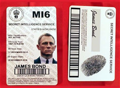 mi6 id card template bond daniel craig novelty mi6 id card quality pvc connery ebay