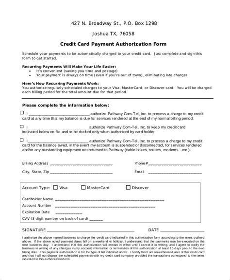 recurring credit card authorization form template 8 sle credit card authorization forms sle templates