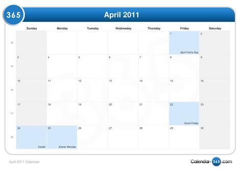 April 2011 Calendar April 2011 Calendar