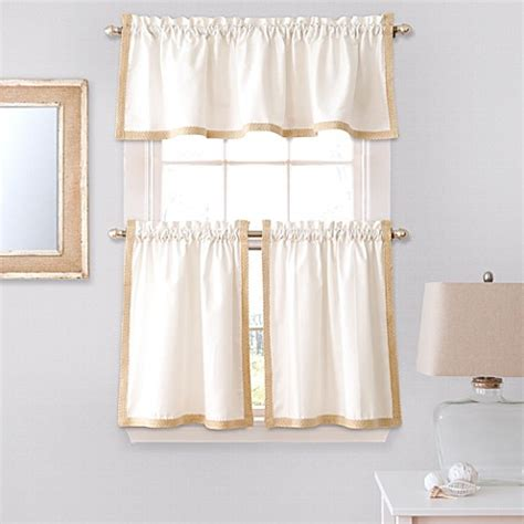 Bed Bath And Beyond Kitchen Curtains Seaview Window Curtain Tier Pair And Valance In White Bed Bath Beyond