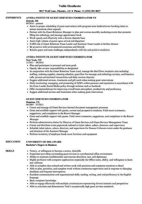 guest services coordinator resume samples velvet jobs