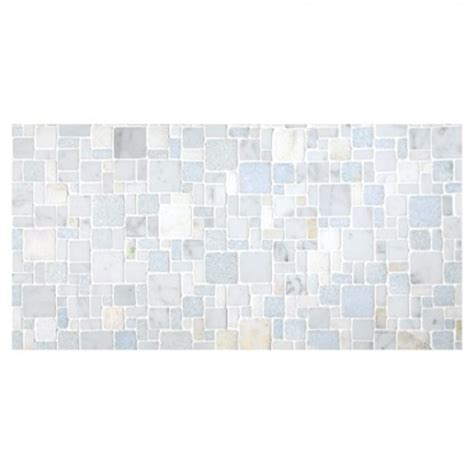 Tumbled Marble Kitchen Backsplash by Opus Mosaic Tile Tumbled Opus Azul Antique Marble