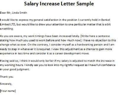 Contract Increase Letter Salary Increase Letter Sle