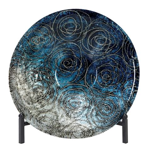 Decorative Charger Plates by Casa Cortes Serene Blue Glass Decorative Charger Plate