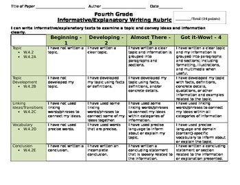 Common Core And M Step Aligned Writing Rubrics For Grades