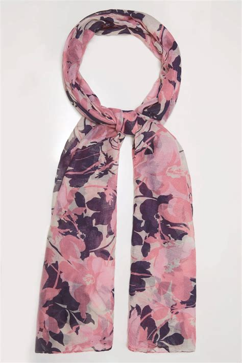 div placement pink multi floral print scarf