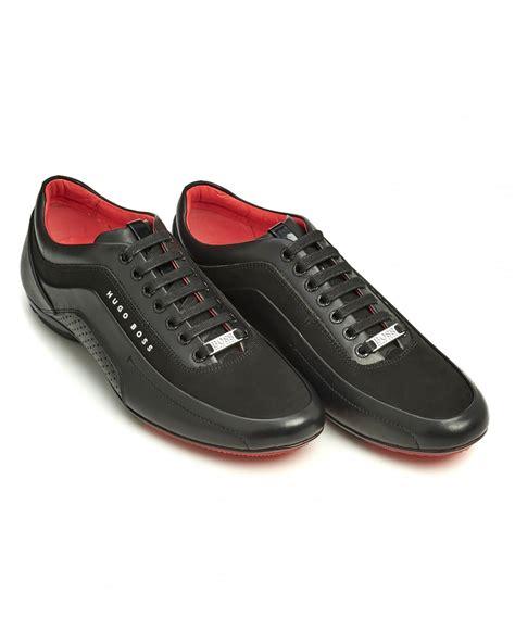hugo mens sneakers hugo mens hb racing trainers black perforated sneakers