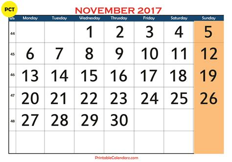 Calendars That Work November 2017 November 2017 Printable Calendar Templates Free