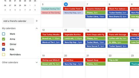 google calendar  meal planning epicurious