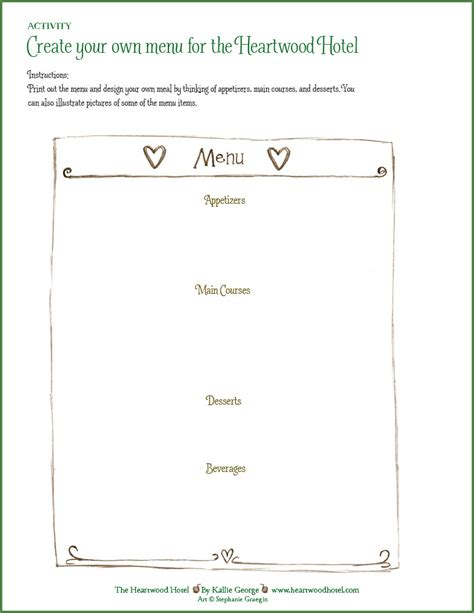 create your own menu template heartwood hotel