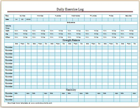 Ms Excel Daily Exercise Log Template Document Templates Daily Work Log Template Word