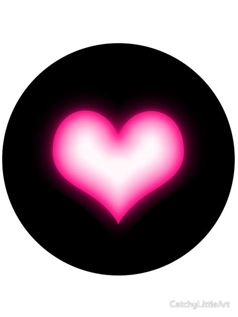 black pink heart quot shiny pink heart on black background quot stickers by