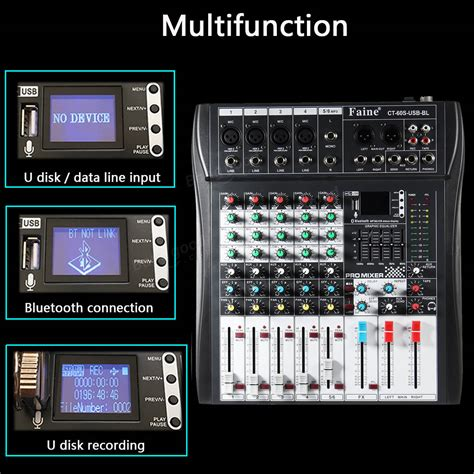 Mixer Linkmaster Ct 6s Usb 6 Channel faine ct 60s usb bl 6 channel bluetooth dj mic mixer lcd display mp3 aux usb stereo club stage