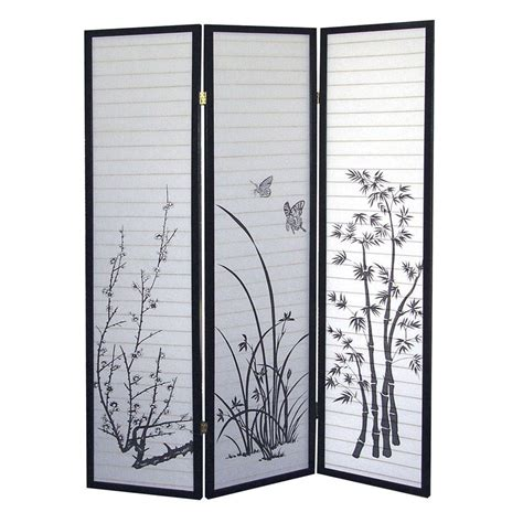 Paravent Design 590 by 5 83 Ft Black 3 Panel Room Divider R590 The Home Depot