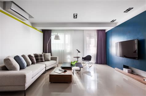 flat decoration vibrant blue and purple apartment decor