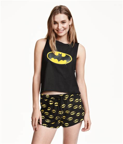 Hm Set Hk Sleepwear h m pyjamas with top and shorts in black lyst