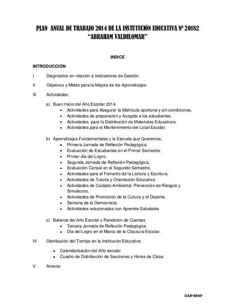 plan anual de trabajo ed inicial 2016 modelo documents plan anual de trabajo 2014 de la instutuci 243 n educativa n 186