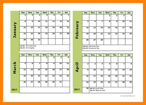 calendar template 4 months per page rakaku 2018 calendar