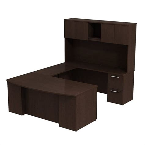 U Desk With Hutch Computer Desk Workstation Table 72 Quot U Shaped With Hutch Mocha Cherry Ebay