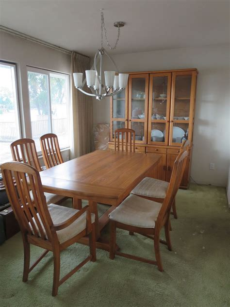 Broyhill Dining Table And Chairs Vintage Broyhill Oak Dining Table 6 Chairs Modern Excellent Condition Mcm Ebay