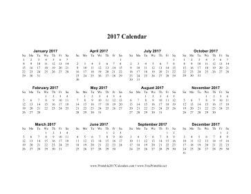 printable calendar 2017 horizontal printable 2017 calendar horizontal descending