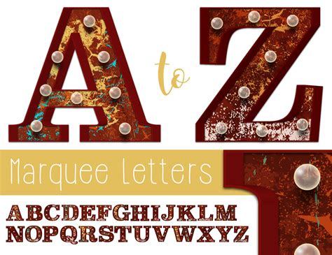 printable marquee letters vector marquee letters a to z printable instant download