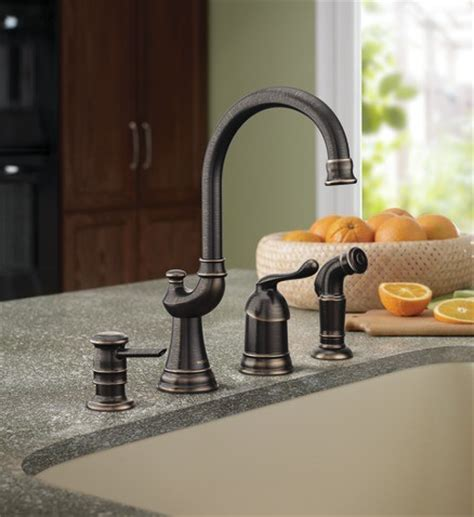 moen muirfield kitchen faucet moen muirfield mediterranean bronze one handle high arc