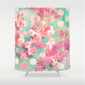 Girly Shower Curtains Pink Retro Floral Pattern Teal Polka Dots Shower Curtain By Girly Trend Society6
