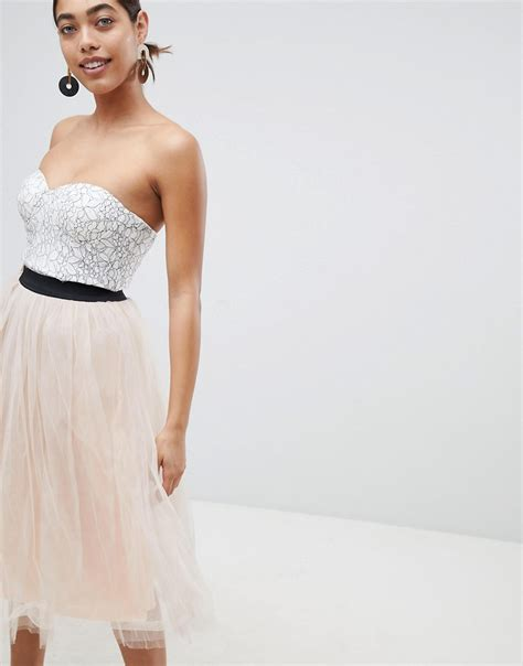 Dress Rara lace prom midi dress with tulle skirt asos