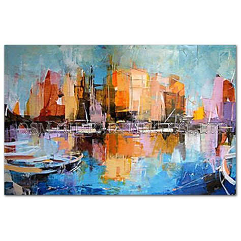 home decor canvas painting abstract city street landscape professional artist handmade impression landscape oil